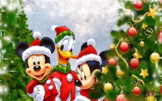 Mickey, Minnie y Donald en Navidad