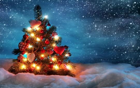 Fondo Pantalla árbol con luces en Navidad.