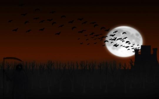 Fondos de Terror. Murciélago en Halloween